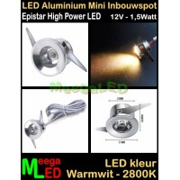 LED-Inbouwspot-Downlight-Mini-12V-1,5W-WW-M1-DB