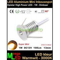 LED-Inbouwspot-Downlight-Mini-12V-1W-WW-M11-DB