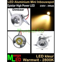 LED-Inbouwspot-Downlight-Mini-230V-3W-WW-M1-DB