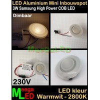 LED-Inbouwspot-Downlight-Mini-230V-3W-WW-M3-DB