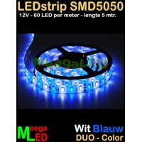 LED-strip-12V-SMD5050-60LED-Duo-Wit-Blauw