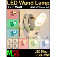 LED-Wandlamp-1x-5W-RGB-WW-DB