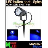 LED-Buiten-Spot-op-spies-230V-5W-Blauw