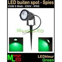 LED-Buiten-Spot-op-spies-230V-5W-Groen
